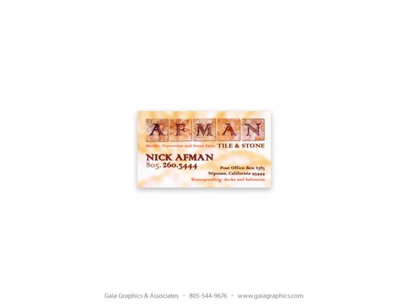 AFMAN TILE & STONE ~ Business Cards