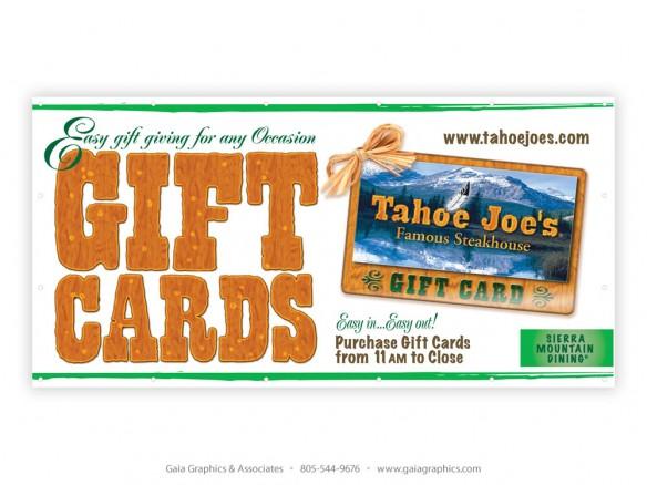 TAHOE JOE'S STEAKHOUSE ~ Gift Card Banner