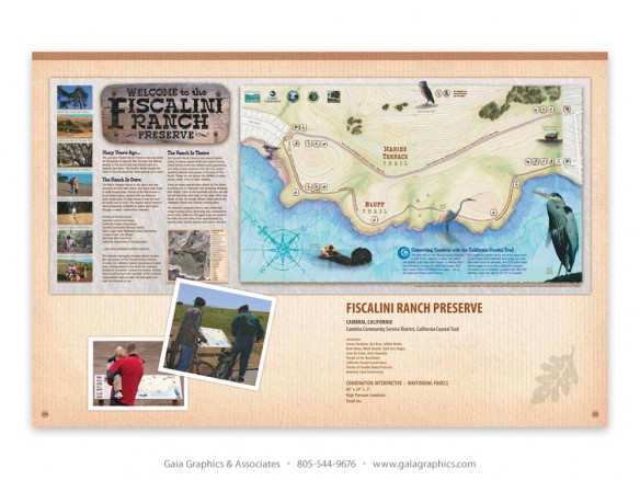 FISCALINI RANCH ~ Cambria, California; combination wayfinding-interpretive panel (pp 30-31)