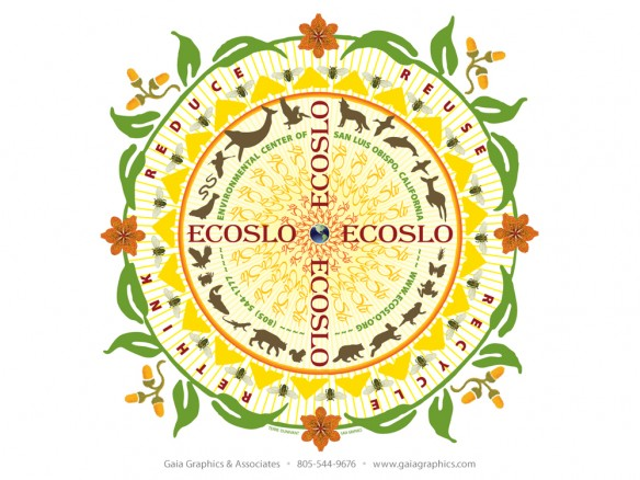 Popular mandala logo for the Environmental Center of San Luis Obispo (ECOSLO) combines native plants and beehives with many