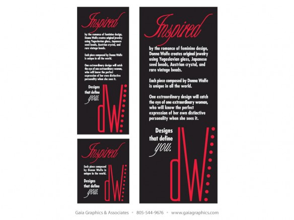 DONNA WOLFE JEWELRY ~ product inserts