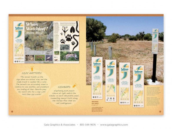SALINAS RIVERWALK ~ combination interpretive and wayfinding panels (pp 40-41)